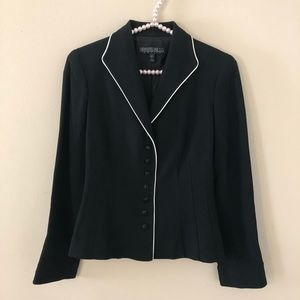 LaFayette 148 Petite Black Blazer White Piping